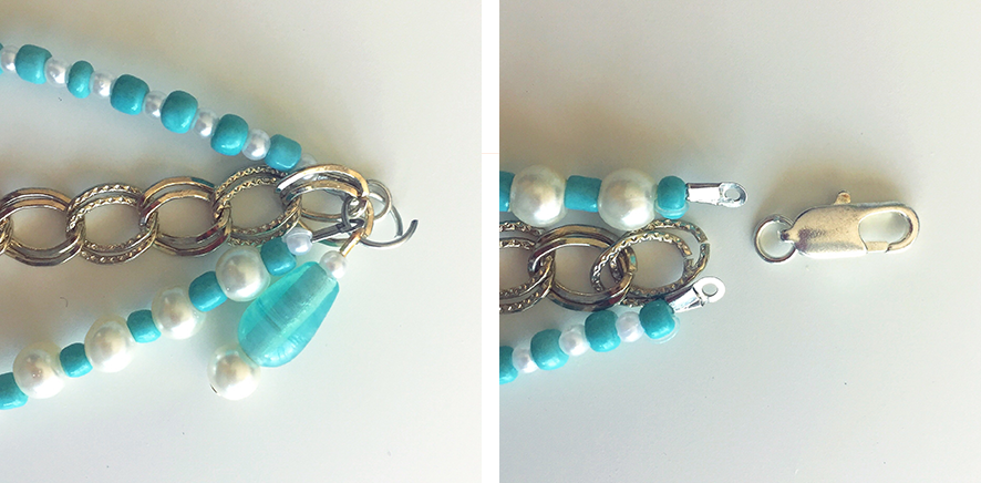 Attaching charm and lobster clasp to DIY bracelet