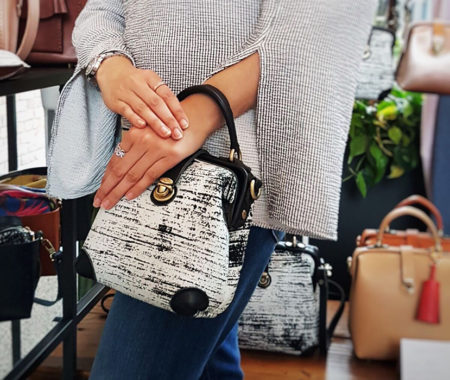 Uppdoo wonder mini black and white handmade toronto handbag