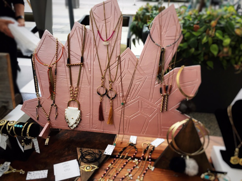 Artifacts boho necklaces on display at Inland 2017