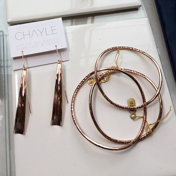 Chayle Infinity bangles and Flow earrings rose gold made in Canada at Inland 2017