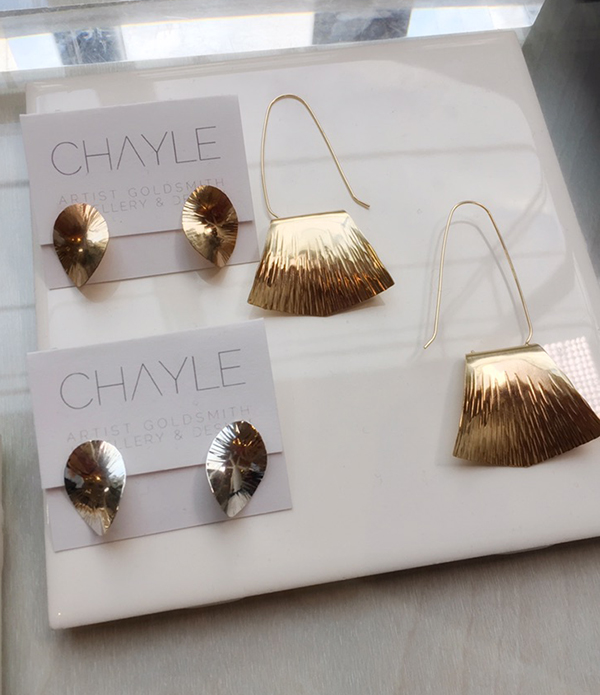 Chayle Infinity studs silver gold earrings made in Canada at Inland 2017