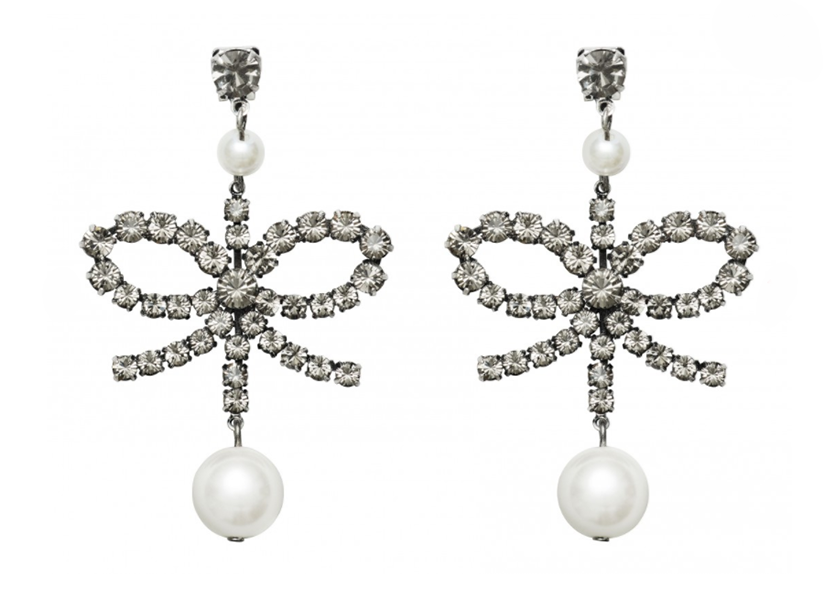 Erdem x H&M bow shaped crystal and pearl earrings