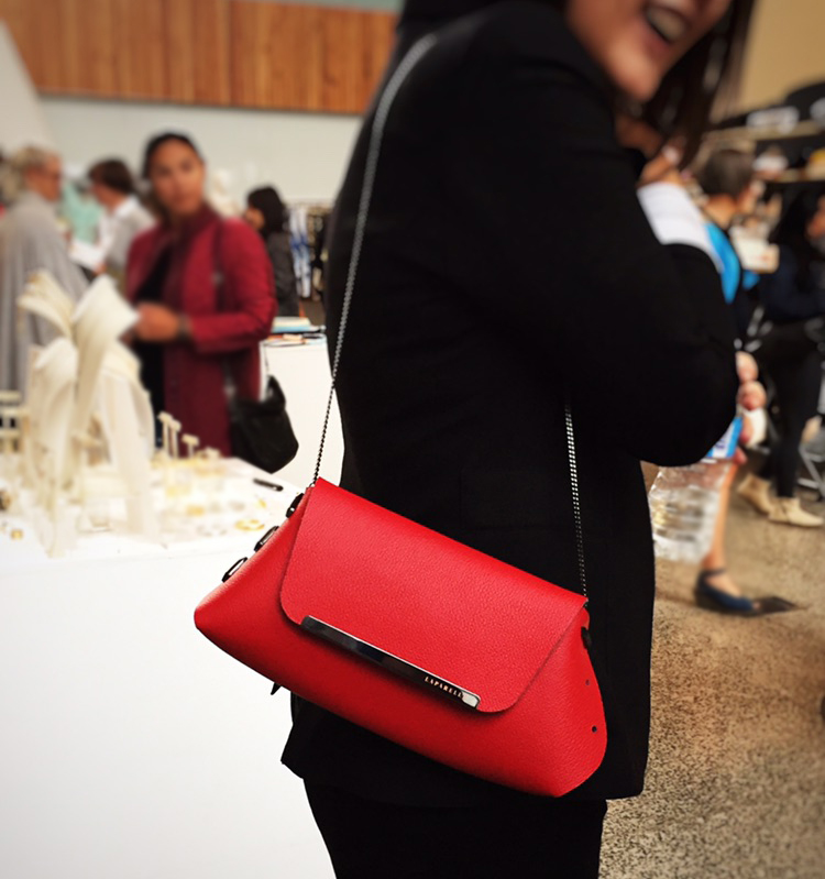 Laparelle leather clutch bag in red at Inland 2017