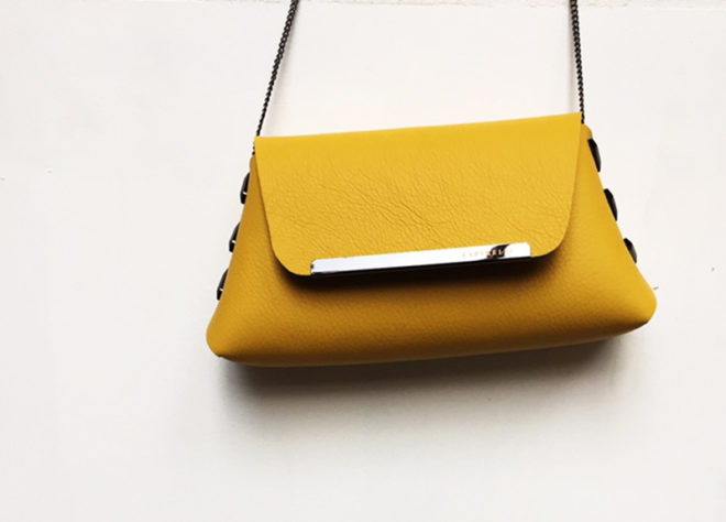 Laparelle leather clutch bag in yellow mustard at Inland 2017