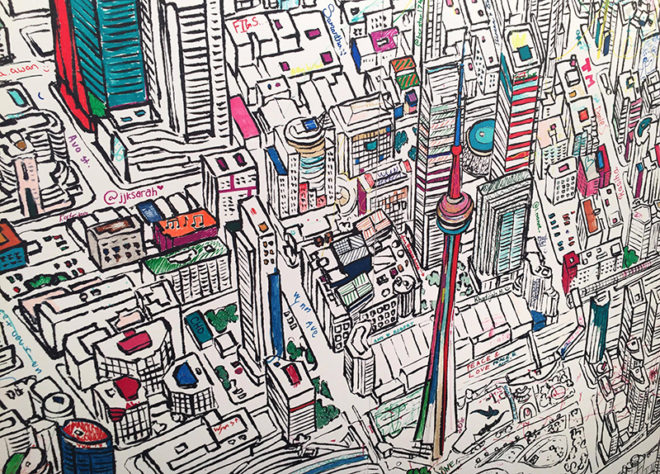 Art mural of Toronto at the One of a Kind Show