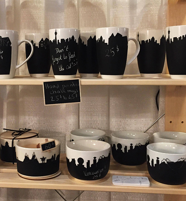 Chalk mugs at the One of a Kind Show