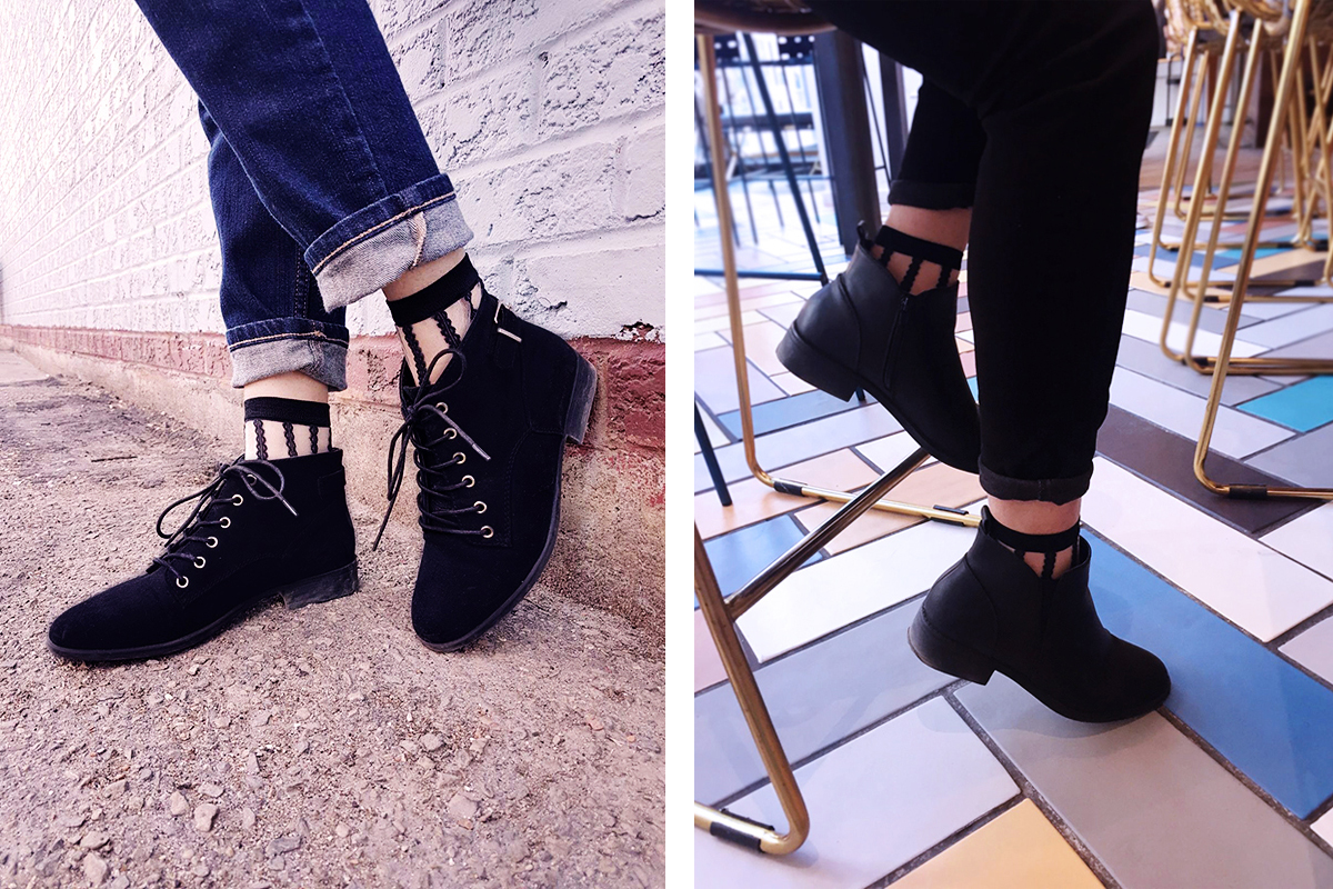 Sheer Socks Trend with Boots - Bauble Stories