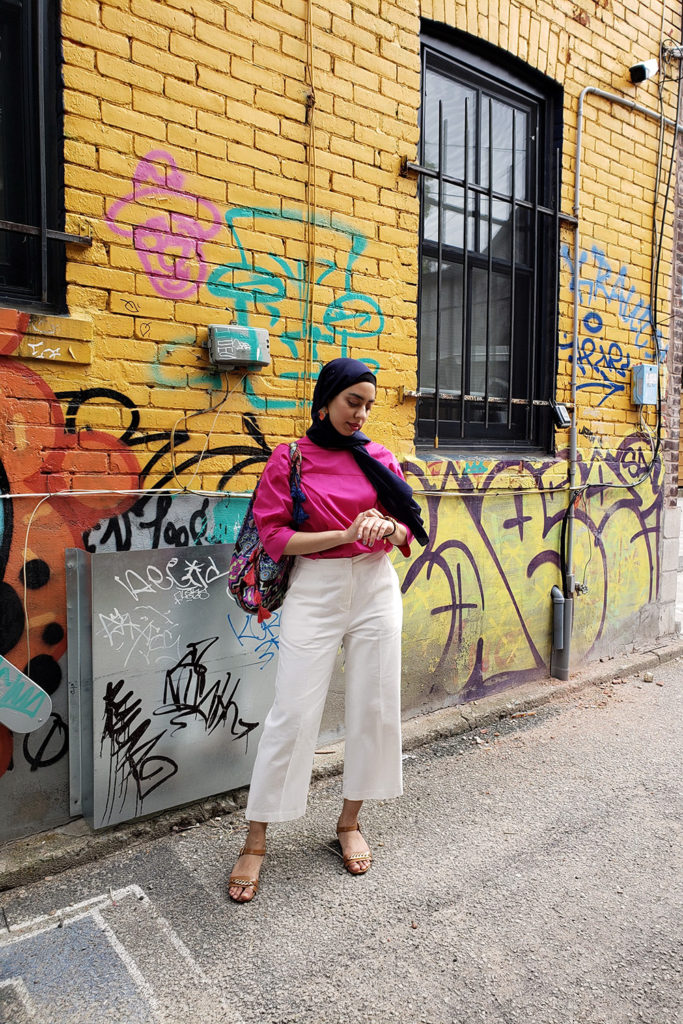 Bright Eid Outfit Graffiti Wall