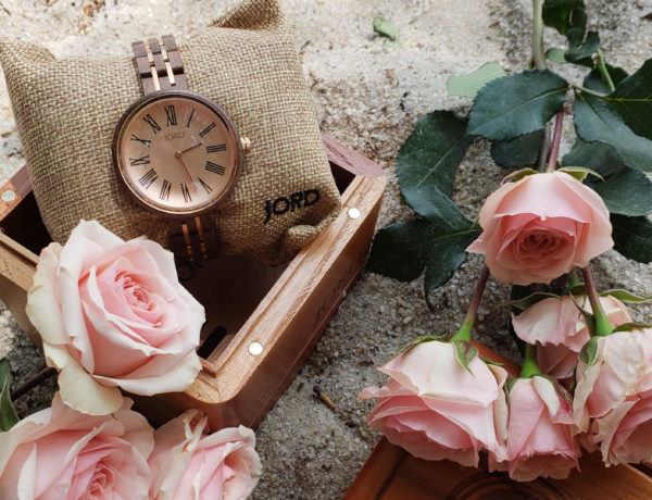 Flatlay of Jord Cassia Wood Watch